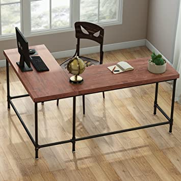 Tribesigns L Shaped Desk, 67u201d Industrial Reversible Corner Computer Office  Desk PC Laptop