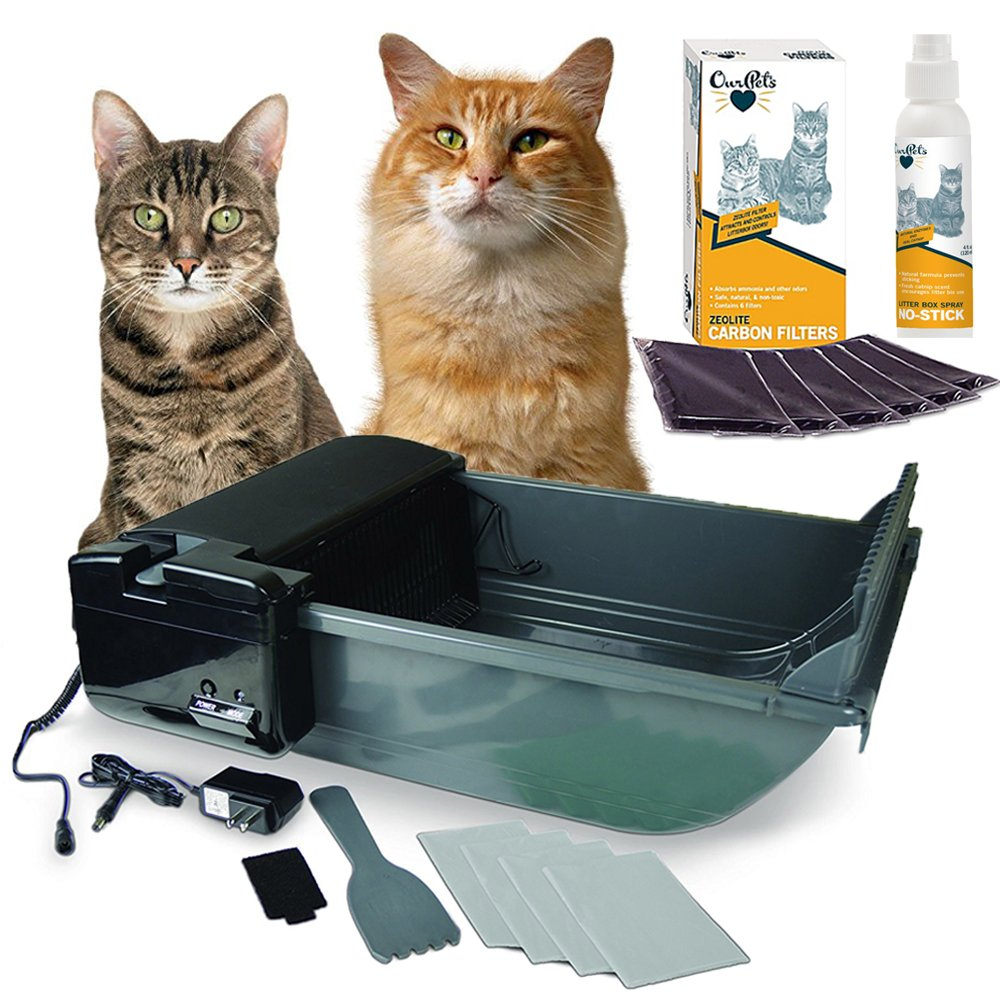 OurPets Smart Scoop Intelligent Bluetooth Litter Box (1400013324) with Carbon Litter Box Filters (Pack of 6) and 4 Oz. No Stick Litter Box Spray Bundle