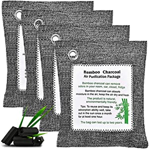 HOMINE 4packs Bamboo Charcoal Air Purifying Bags, Efficient Odor Eliminators for Home, Natural Non-Toxic Activated Charcoal Odor Absorber Air Freshener for Home Closet Fridge Car (4)