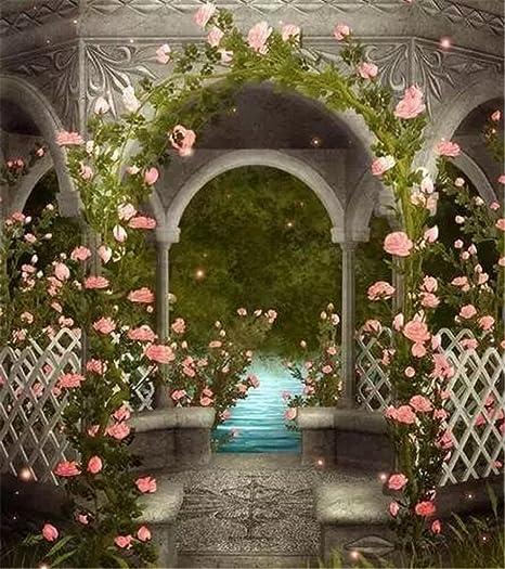 Vintage Pavilion rosa flores jardín foto fondos Río fotografía telón de fondo Fantasía de bodas Scenic fondos 8 x 10ft: Amazon.es: Electrónica
