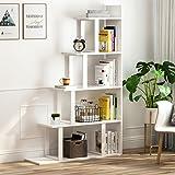 Tribesigns 5-Shelf Ladder Corner Bookshelf, Modern Simplism Style 63 '' H x 12 '' W x 40 ''L, Made of Steel and Wood, for Liv