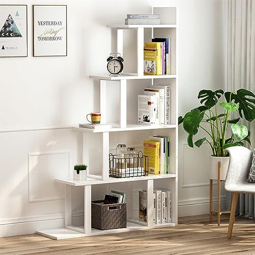Tribesigns 5-Shelf Ladder Corner Bookshelf, Modern Simplism Style 63 H x 12 W x 40 L, Made of Steel and Wood, for Living Room or Hallway White.