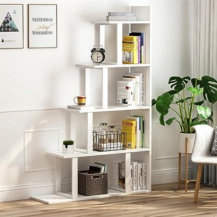Amazon Com Tribesigns 5 Shelf Ladder Corner Bookshelf Modern