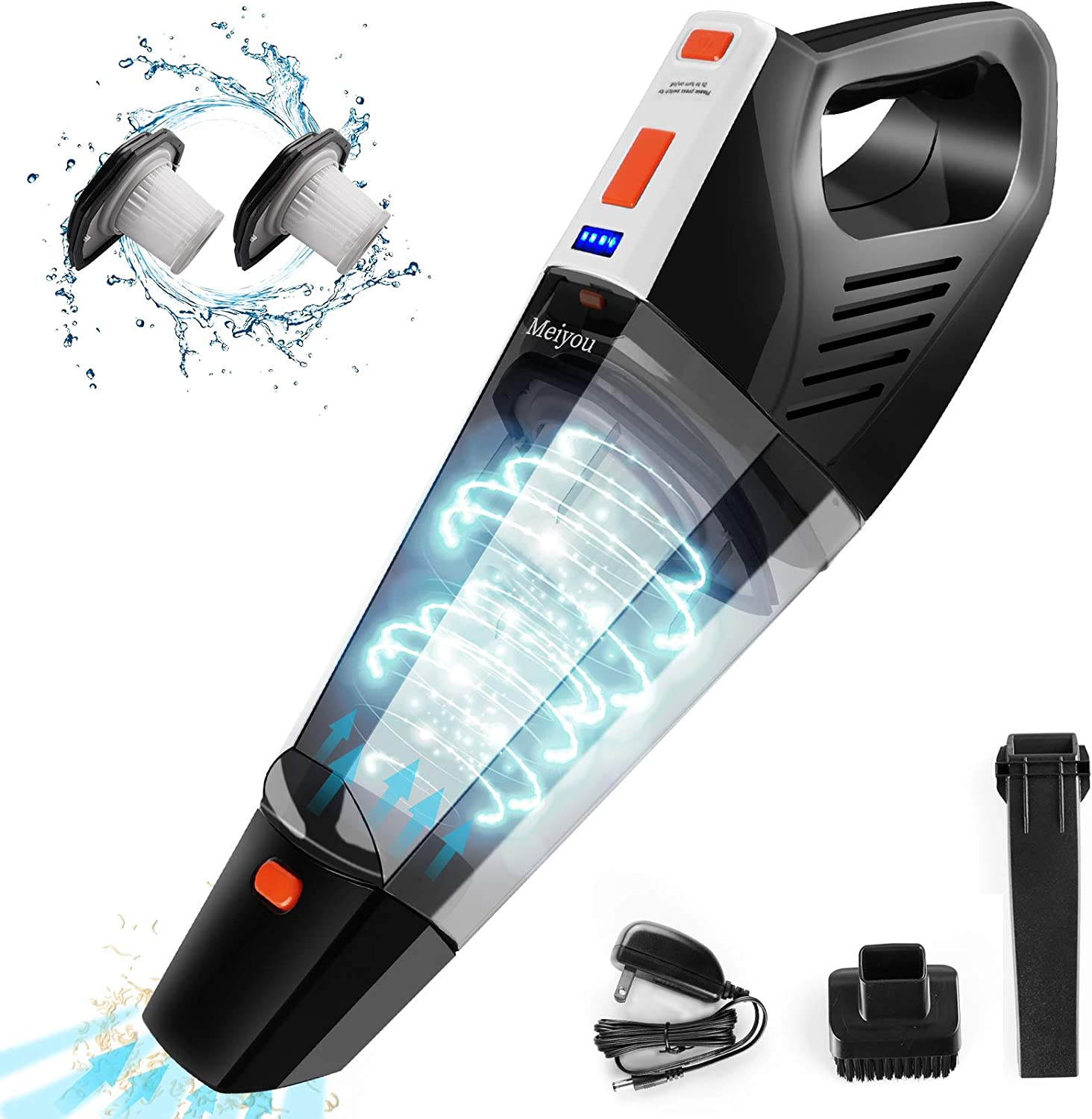 Meiyou Handheld Vacuum, Wet&Dry Vacuum Cleaner, Rechargeable Cordless Handheld Vacuum with 9KPA Strong Suction Powered by Li-ion Battery, Portable Hand Vacuumfor Pet Hair, Home and Car Cleaning