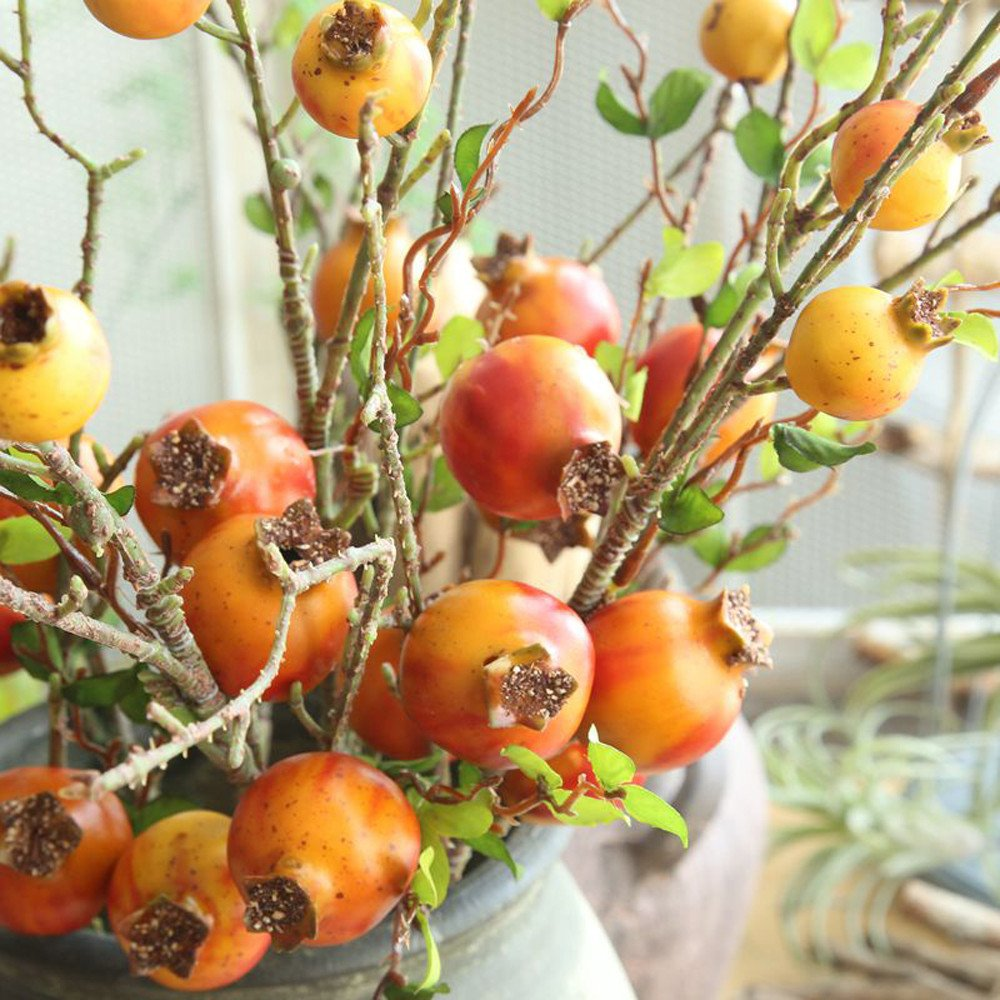 Effulow Pomegranate Dry Branch Simulation Fruit Fruit Artificial Flower Home Decoration