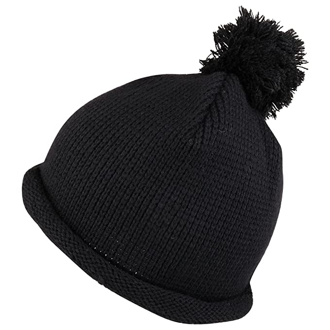 Amazon.com  Winter Solid Color Roll Up Knit Beanie Hat with Pom Pom ... 350da6511366