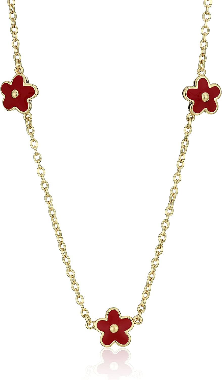 Little Miss Twin Stars Frosted Flowers 14K Gold Plated 3 Pink Flowers Enamel Necklace
