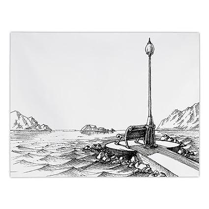 Amazon com: iPrint Rectangular Satin Tablecloth,Sketchy,Bench and