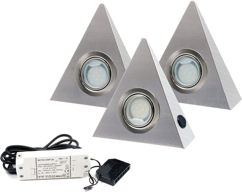 Einbaustrahler K/üchen-Unterbau-Leuchten K/üchenleuchte aus rostfreiem Edelstahl inklusive 3 x 3 Watt 3000K warm-wei/ß LED Modul Trango 3er Set LED Unterbauleuchte TG6739-32 Einbauleuchten