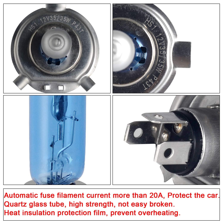 S2 // Ba20d Halogen Bulbs 12V 35//35W Super White Headlight Lamps 5500K Motorcycle Hi Lo Bulb DZG 2 Pieces