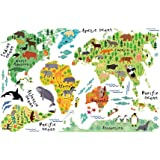 Vipeco Colorful Animal World Map Sticker Kids Home Decor Diy Room Wall Art Poster 900.00 * 600.00 * 1.00mm As Picture