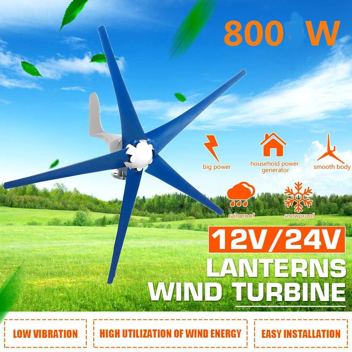 TQ 800W 5 Cuchillas de Viento generador de turbinas, Horizontal generador de Viento 12V / 24V con el regulador del Molino de Viento Energía Turbinas de Carga,24v: Amazon.es: Deportes y aire libre