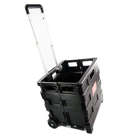 ASAB - Caja Multiusos Plegable con asa y Ruedas, Carro para la Compra, Cesta