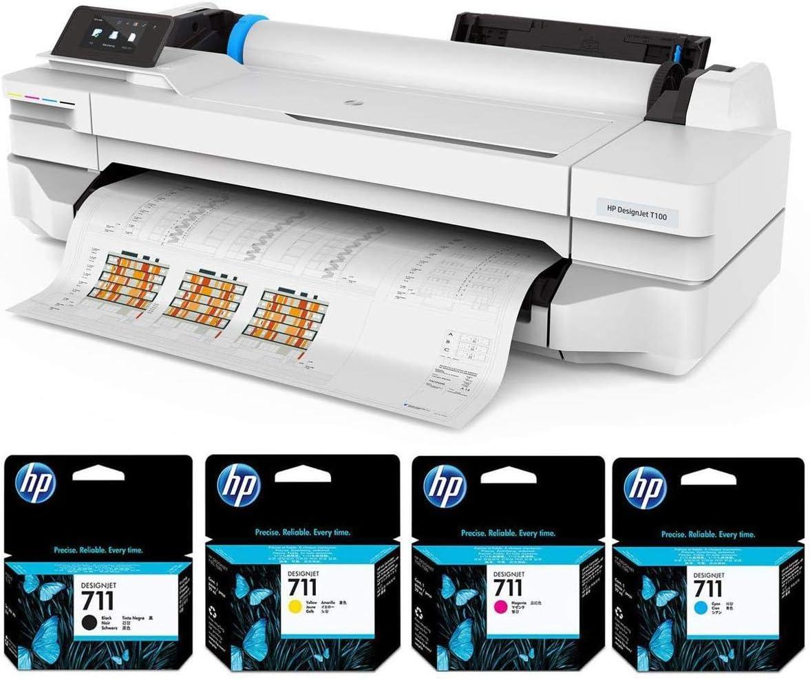 """HP DesignJet T100 24"""" Wireless Large-Format Inkjet Printer, 256MB Memory - Bundle 711 Ink Cartridges, (Black, Cyan, Magenta, Yellow)"""