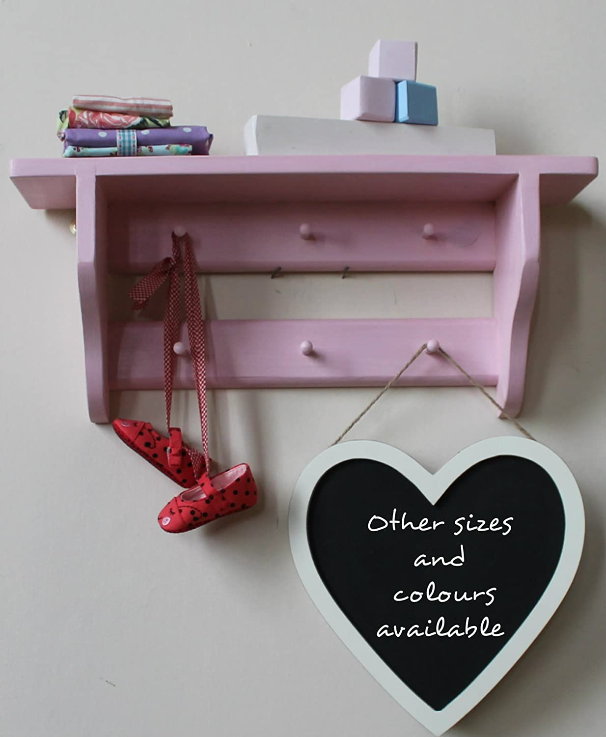 available with 6 8 pink Shaker style nursery shelf 10 or 12 pegs double rail of Shakers pegs