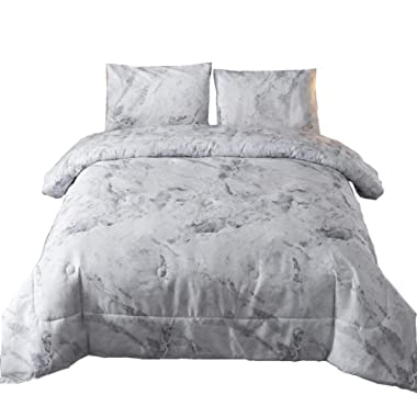 A Nice Night Closure-Printed Marble Pattern Ultra Soft Comforter Set Bed-in-a-Bag,Queen (New-Grey, Queen)