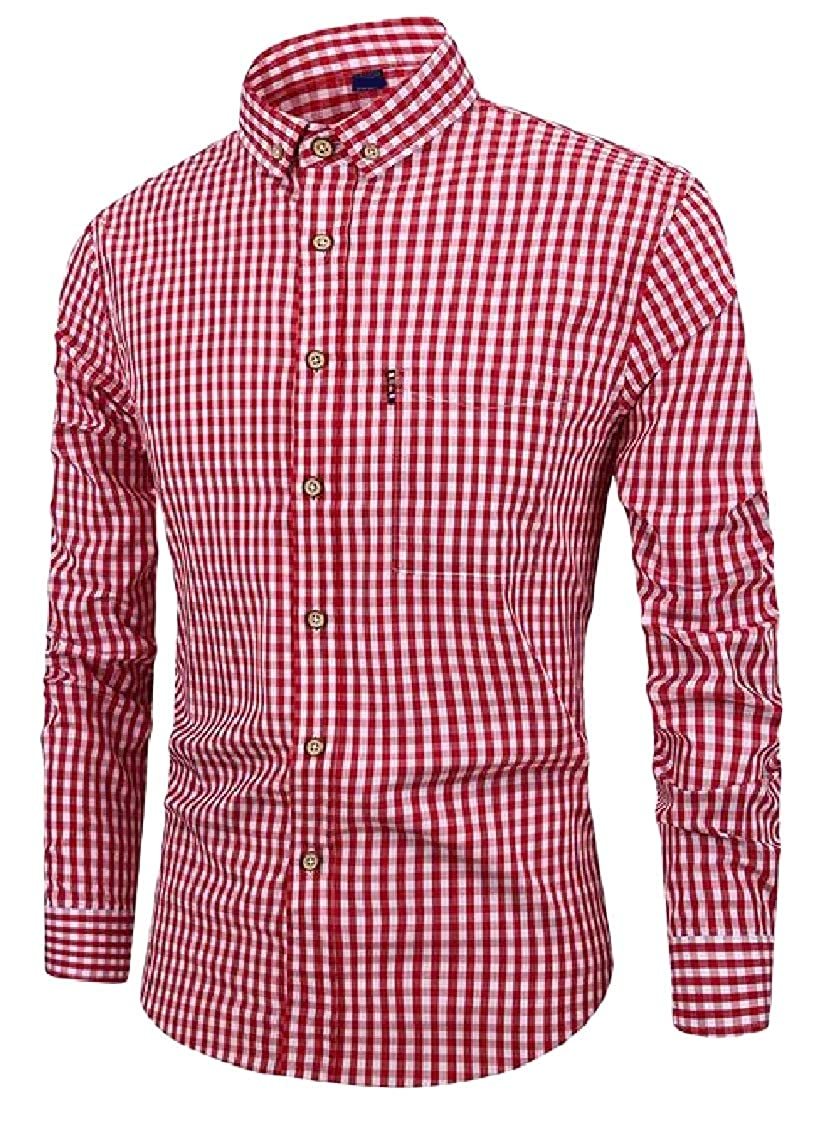 Hajotrawa Mens Classic Checkered Button Down Slim Fit Long Sleeve Buffalo Shirts