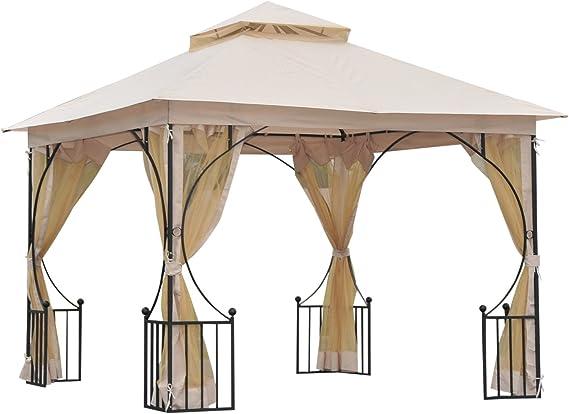 Outsunny – Elegante cenador de jardín, pérgola con techo ...
