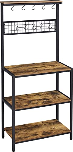 Yaheetech 4-Tier Industrial Kitchen Bakers Rack,Standing Baker's Racks,Microwave Oven Stand Organizer Workstation Mesh Panel w/10 Hooks,Standing Cupboard w/Storage Shelves,Stable Metal Frame