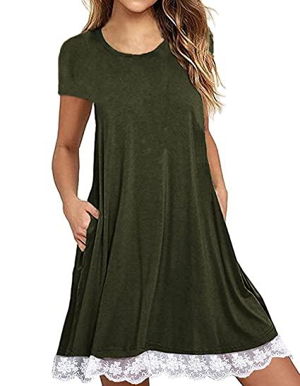 87a0728647 Our Precious Women s Pockets Loose Summer Dress Casual Short Sleeve Swing  T-Shirt Dress at Amazon Women s Clothing store