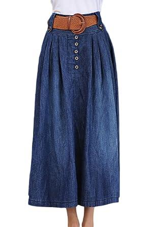 8f6b68723a796b Simgahuva Bouton De Jupe en Jean Taille Haute, des Jupes Longues avec  Ceinture Devant