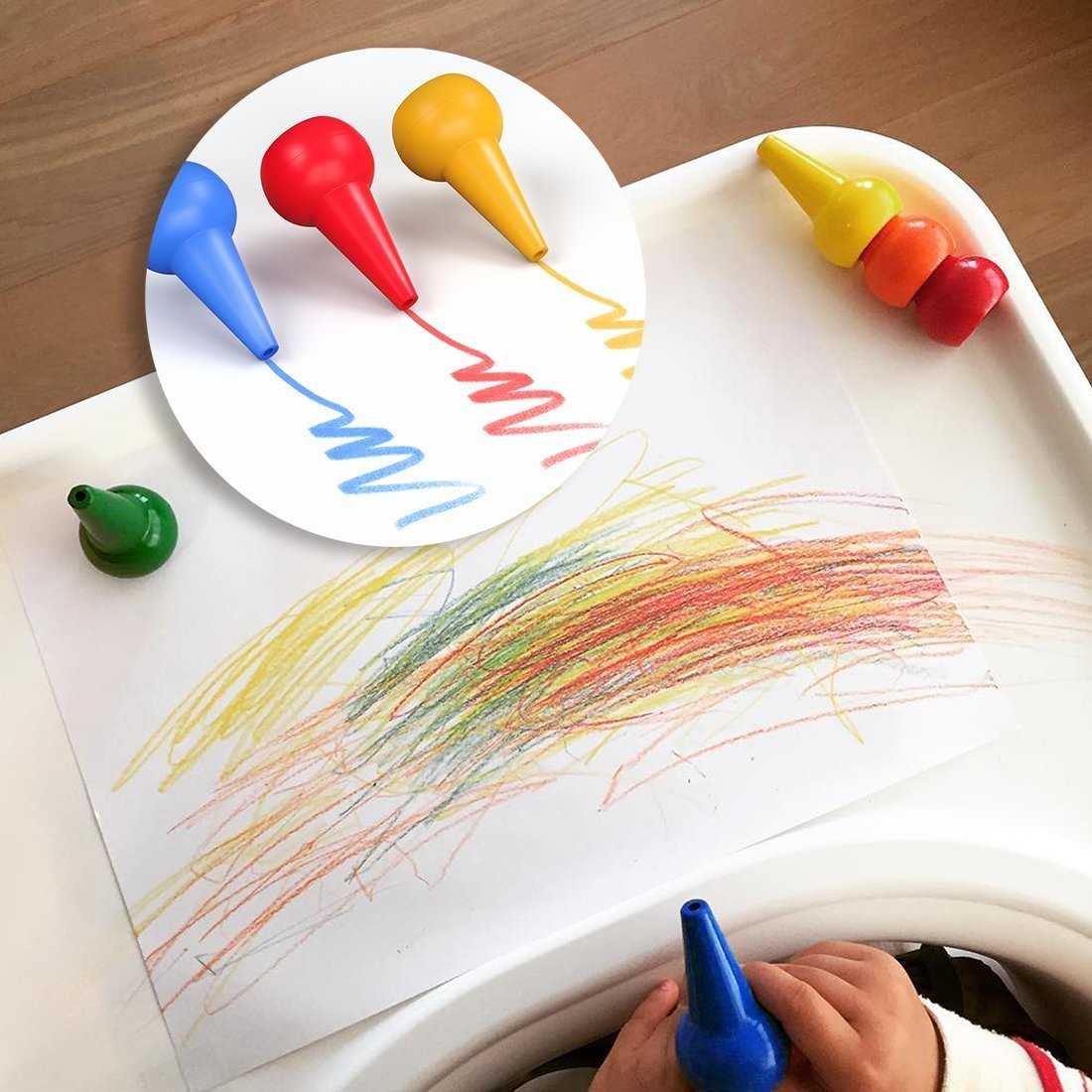 12 Colors Paint Crayons Sticks Stackable Toys for Kids Child Toddlers GiBot Toddlers Crayons Palm-Grip Crayons Safety and Non-Toxic Q-18