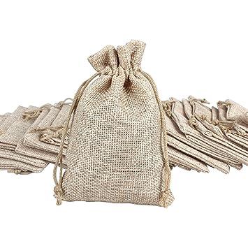 Amazon.com: ondder 24 Pack Burlap bolsas con cordón bolsas ...