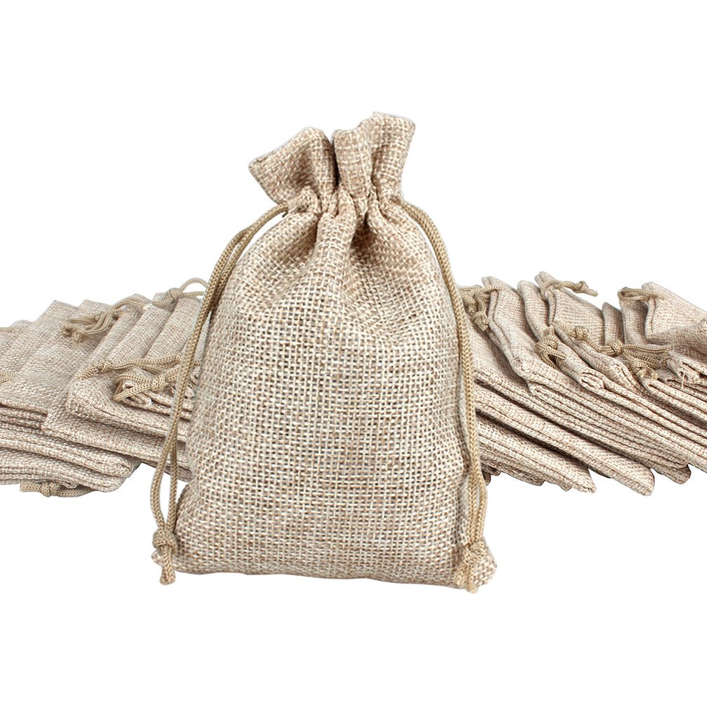 Amariver Natural Burlap Bags with Drawstring, Reusable Linen Pouches, Perfect for Jewelry Pouch, Wedding Birthday Parties Favor, Gift/Candy Bags, Set of 24