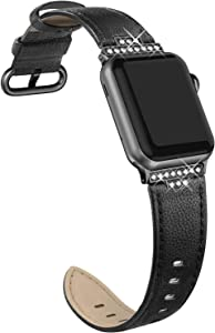 SWEES Leather Band Compatible with iWatch 38mm 40mm, Diamond Dressy Glitter Bling Elegant Stylish Strap Compatible with iWatch Series 6, 5, 4, 3, 2, 1, SE, Sports & Edition Women, Classic Black