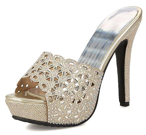 501ca127ca Amazon.com   Aisun Women's Peep Toe Slide Sandals with Rhinestone - Sexy  Stilettos Platform - High Heel Slip On Cutout   Heeled Sandals
