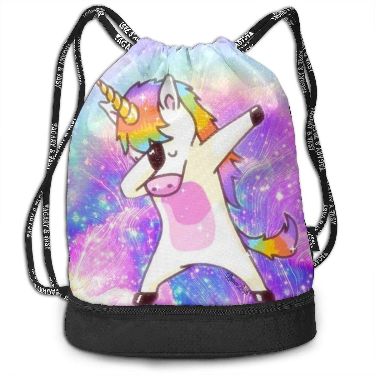HUOPR5Q Swag Unicorn Drawstring Backpack Sport Gym Sack Shoulder Bulk Bag Dance Bag for School Travel