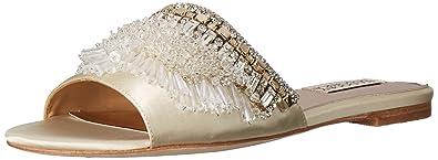 14316b398 Badgley Mischka Women's Kassandra Flat Sandal, Ivory, 5.5 Medium US
