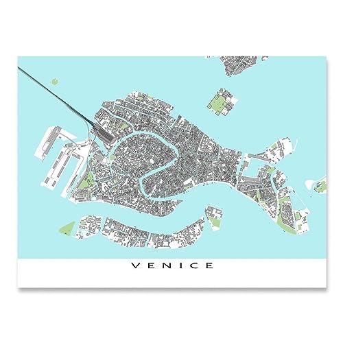Amazon Com Venice Map Art Italy Europe Venezia City Wall Artwork