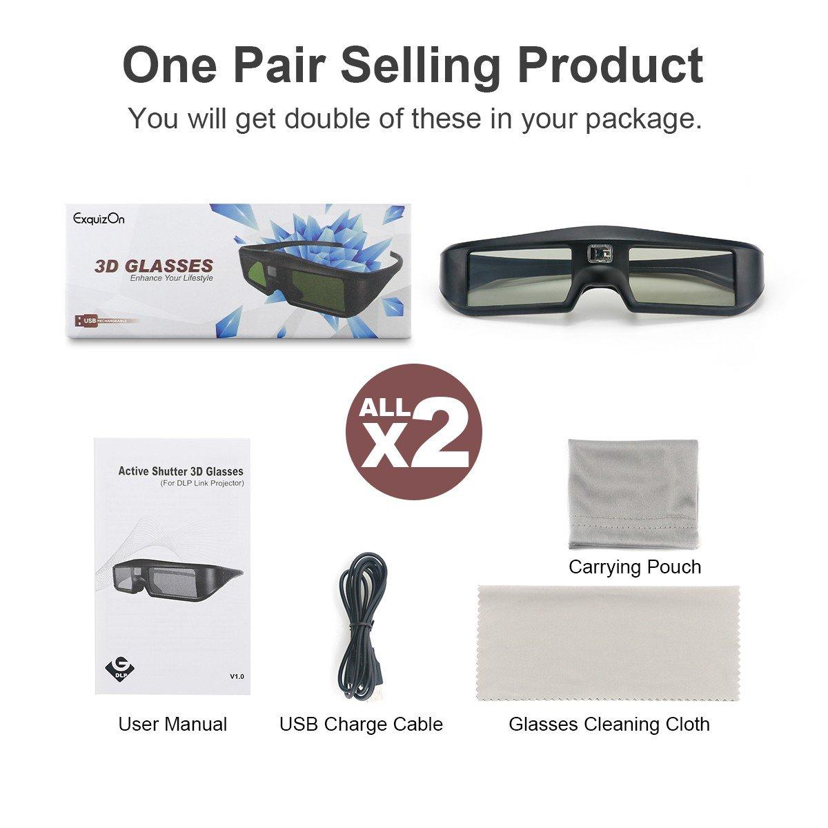 Exquizon 2 Packs Ultra-Clear HD 96-144Hz DLP LINK 3D Active Rechargeable Shutter Glasses for All 3D DLP Projectors BenQ, Optoma, Dell, Mitsubishi, Samsung, Acer, Vivitek, NEC, Sharp, ViewSonic & Endle