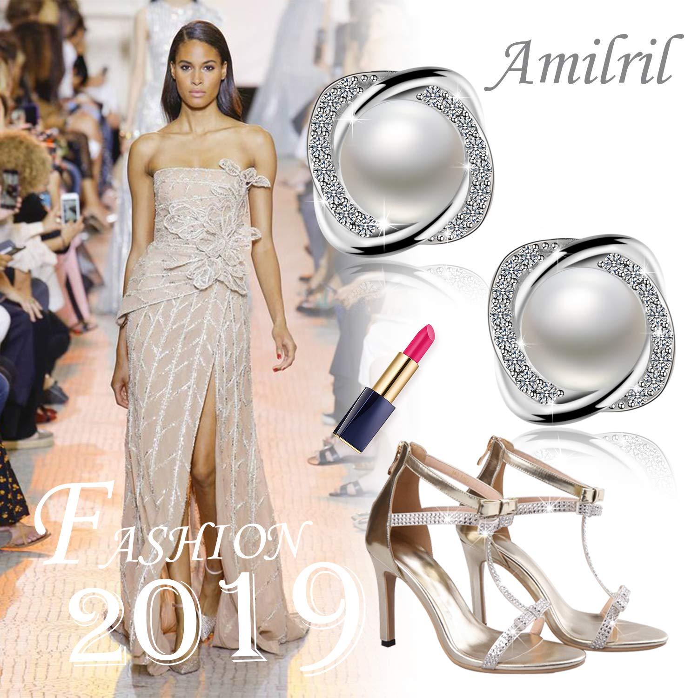 Unique Cadeau Parfait F/ête des M/ères Cadeau Perles deau douce 925 Sterling Argent 5A Zircone Cubique Bijoux Amilril Boucles Doreilles de perles