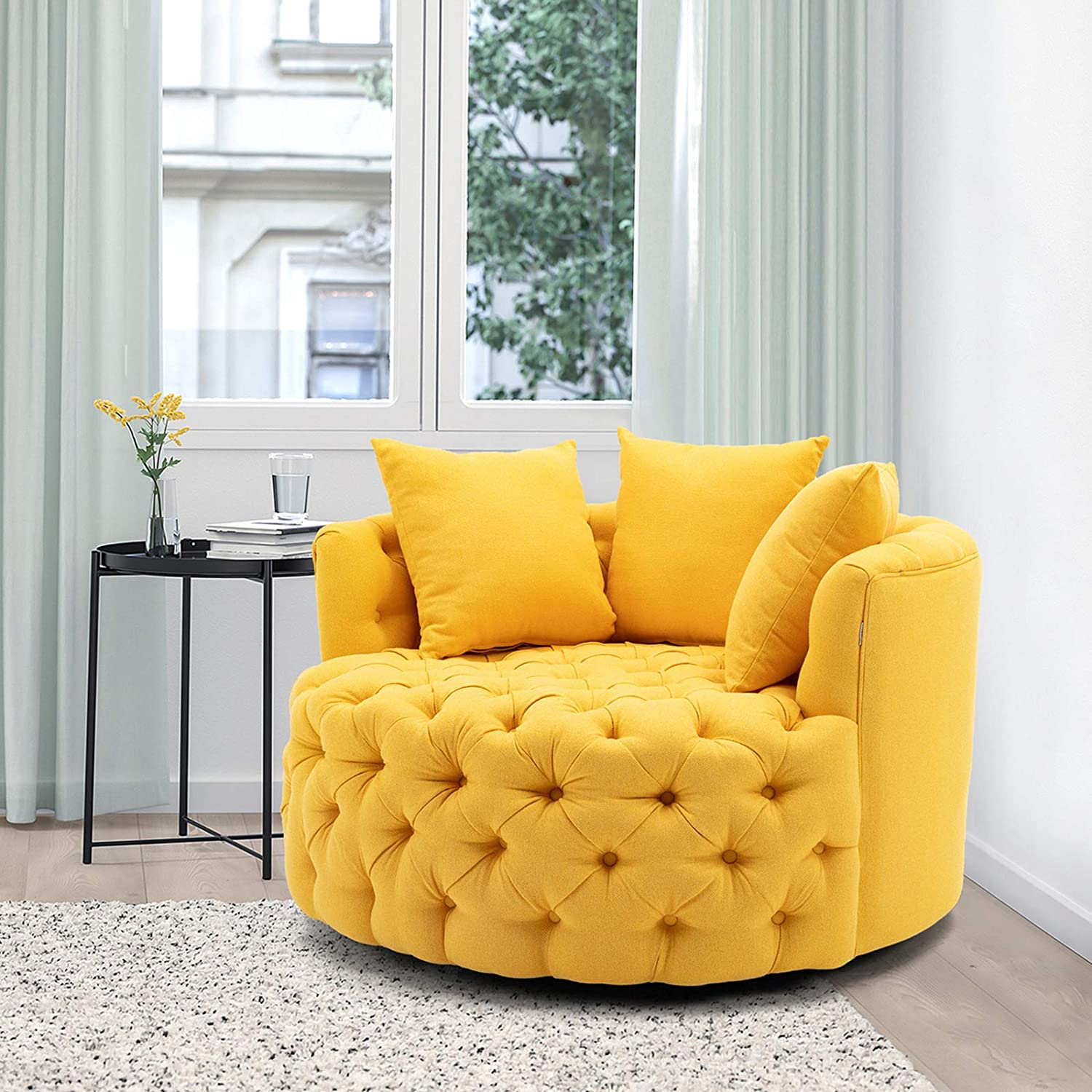 Modern Akili Swivel Accent Chair Barrel Chair for Home Living Room/Modern Leisure Chair Pink (43.70 Inches, Yellow)