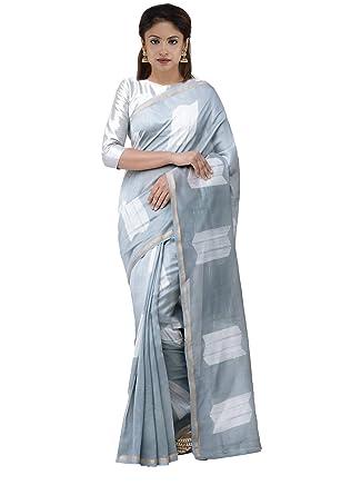 6339e4c01a4 Unnati Silks Women Pure Shibori Chanderi Saree with blouse piece from the  Weavers of Madhya Pradesh(UNM30161+Grey +Free size)  Amazon.in  Clothing    ...