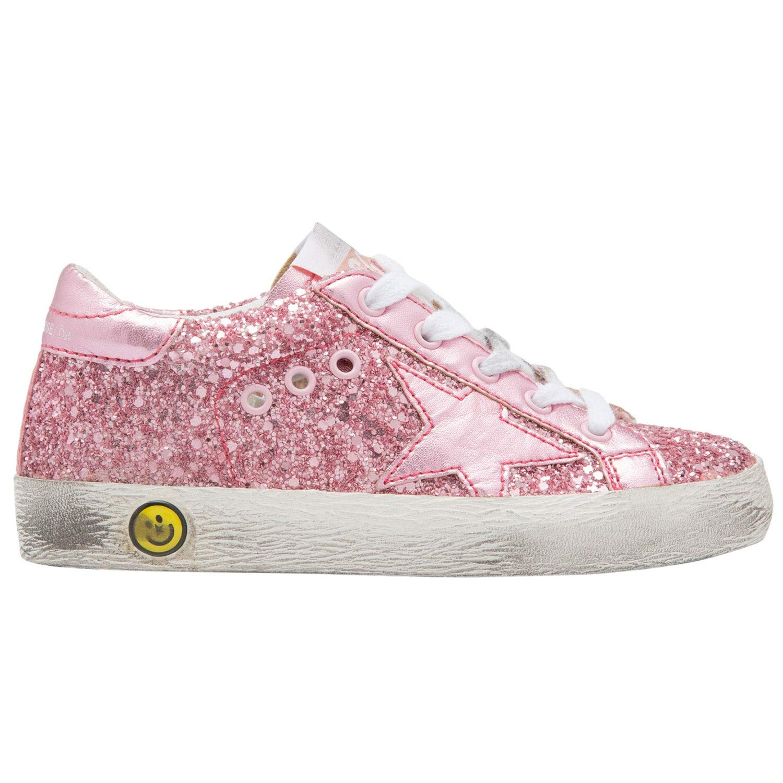 Golden Goose Kids Sneakers Superstar Glitter Pink Star G31KS001.A25 (Size: 19)