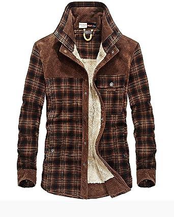 Camisa para hombre con forro de franela, estilo casual, de manga larga, con botones forrados, para camisa cálida, chaqueta Sherpa