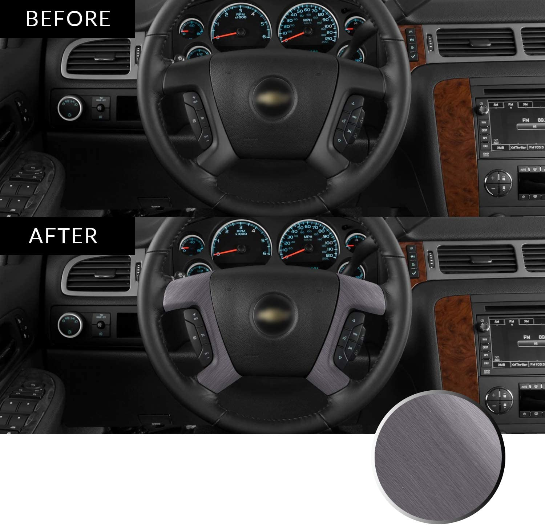 Optix Steering Wheel Spoke Vinyl Decal Overlay Trim Wrap Inserts Sticker Compatible with Tahoe Silverado Suburban Avalanche Sierra Yukon 2007-2013 Metallic Brushed Aluminum Black