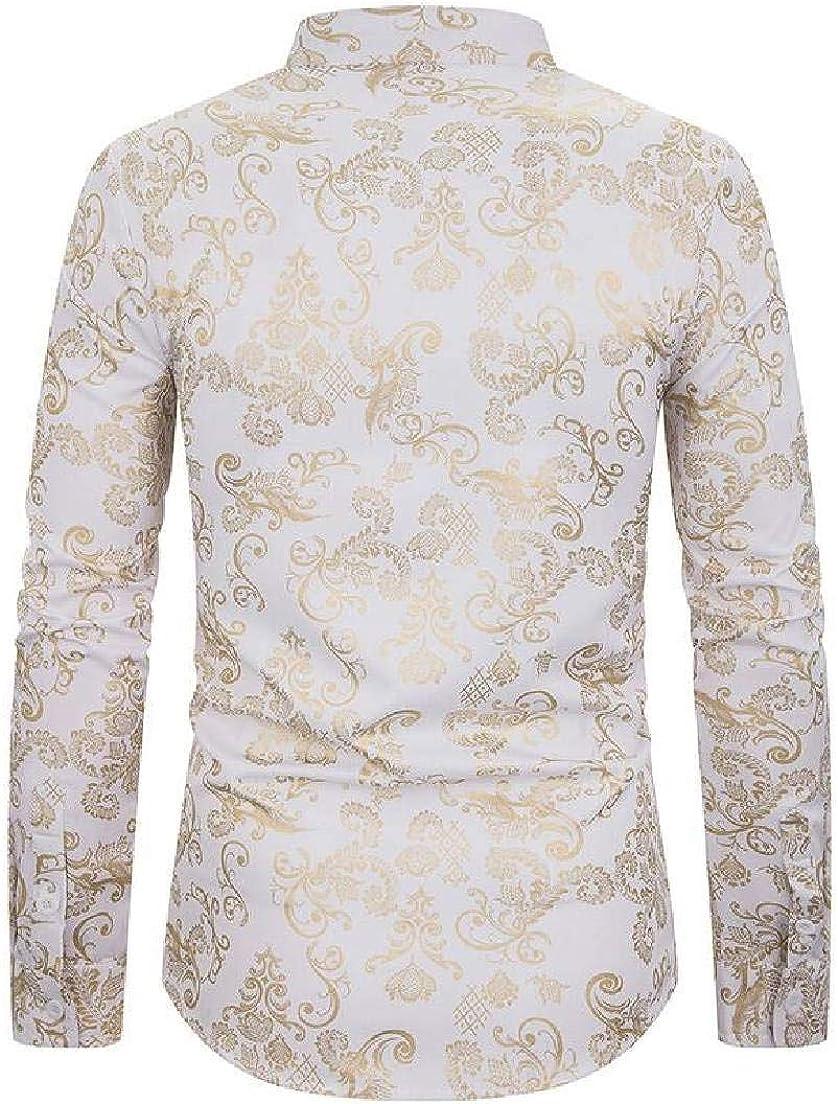 KLJR Men Regular Fit Long Sleeve Button Front Luxury Gold Shirts