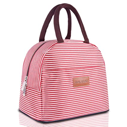 595e7261a118 BALORAY Lunch Bag Tote Bag Lunch Bag for Women Lunch Box Insulated Lunch  Container (Red&White Strip)