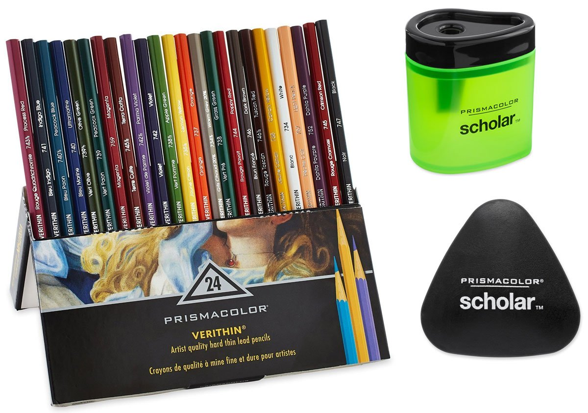 Prismacolor Premier Verithin Colored Pencils、24パック Pencils with Free Sharpener and Eraser B017MFJSIU  Pencils with Free Sharpener and Eraser