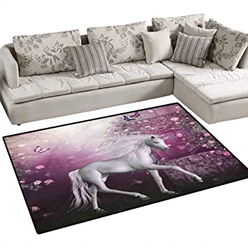 Amazon Com Fantasy Decor Queen Size Girls Bedroom Rug Unicorn In
