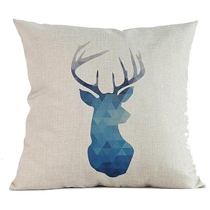 Home Textile Bronzing Style Pillow Cover European Deer Head Cushion Cover For Sofa Home Decoration Flower Pillowcase 45x45cm