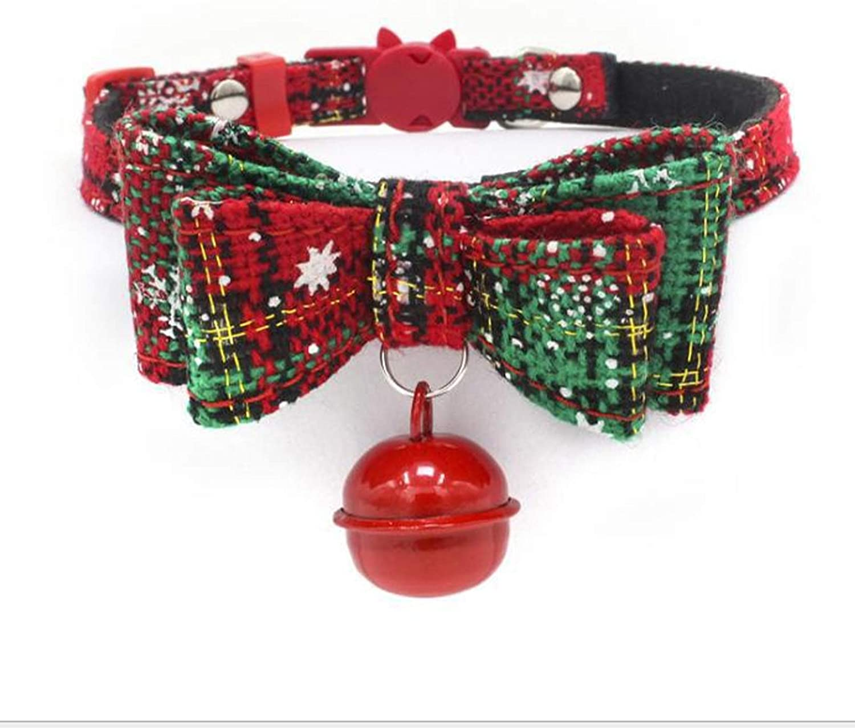 HEIGOO Christmas Kitten Collar,Adjustable Cat Collar,Kitten Collar,Quick Release Safety Buckle with Bell