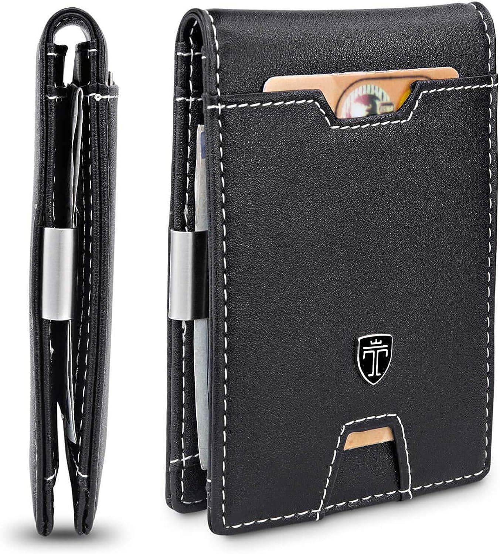 TRAVANDO Slim Wallet with Money Clip RFID Blocking Wallet AUSTIN Credit Card Holder - Travel Wallet - Minimalist Mini Wallet Bifold for Men Mens Mans Gift Box