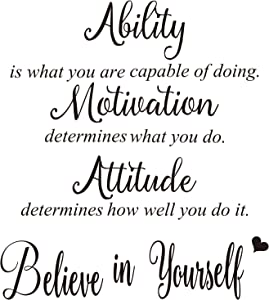 AMCEMIC 4 Sheets Vinyl Wall Quotes Stickers, Inspirational Saying Home Wall Decals Believe in Yourself Ability Motivation Attitude Quotes Stickers for Home Office School Gym Classroom Wall Decor