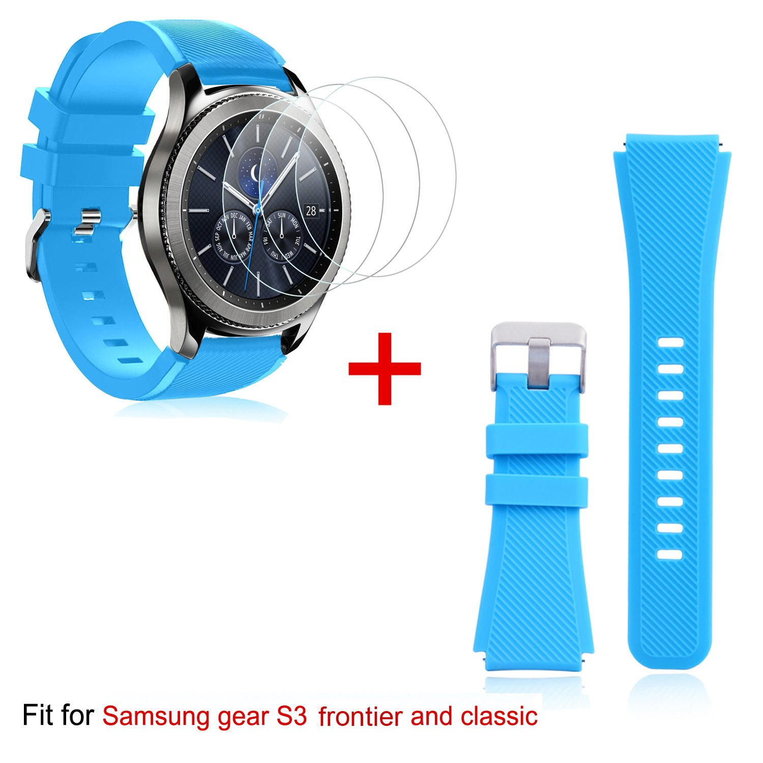 Band Replacement and Tempered Glass Screen Protectors[3-Pack] for Samsung Gear S3, Wrist Band for Samsung Gear S3 Frontier/Classic Smartwatch (Blue)