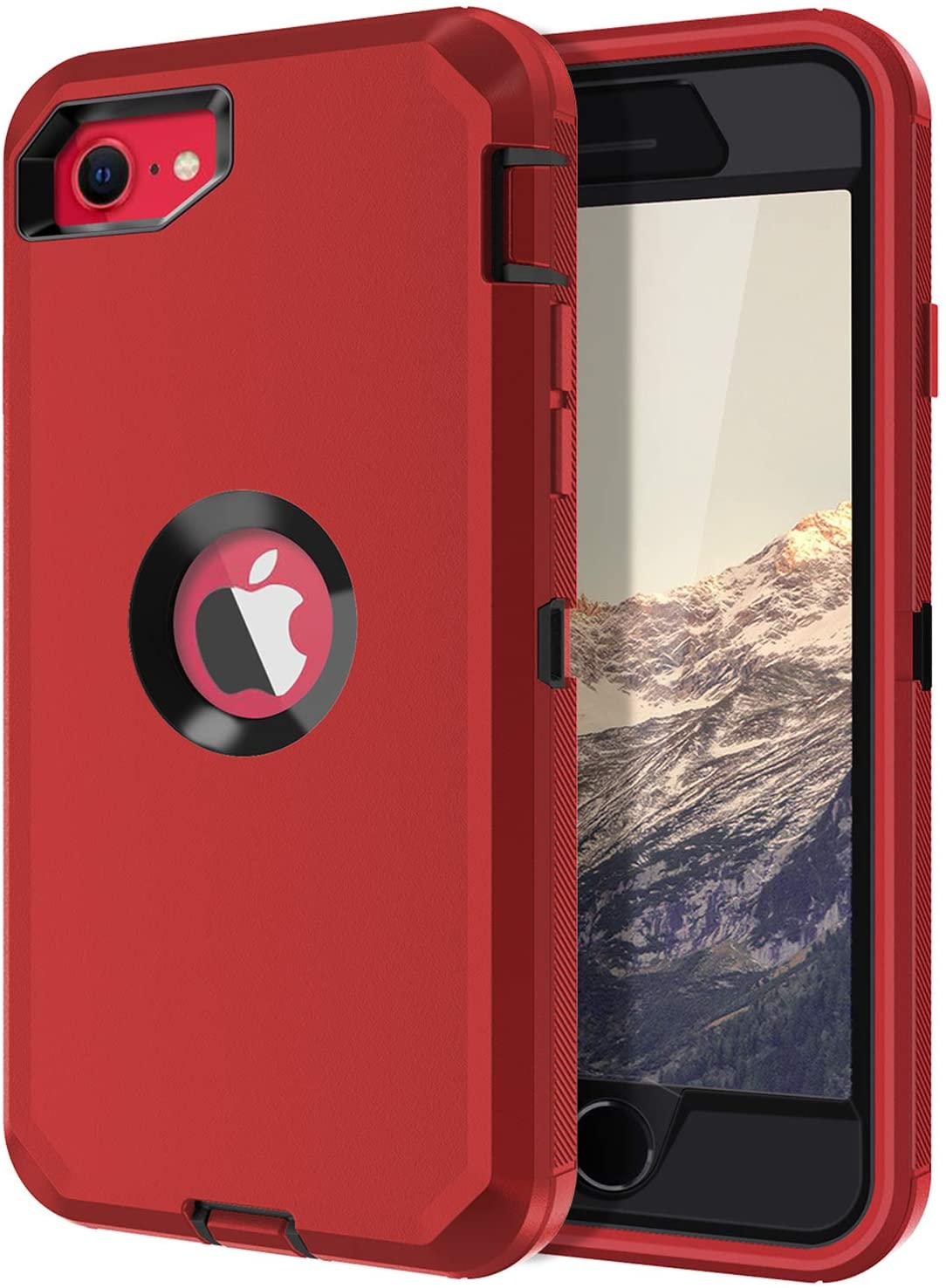 I-HONVA for iPhone SE 2020 Case Built-in Screen Protector Shockproof Dust/Drop Proof 3-Layer Full Body Protection Rugged Heavy Duty Durable Cover Case for Apple iPhone SE (2nd Gen) 4.7-inch, Red/Black